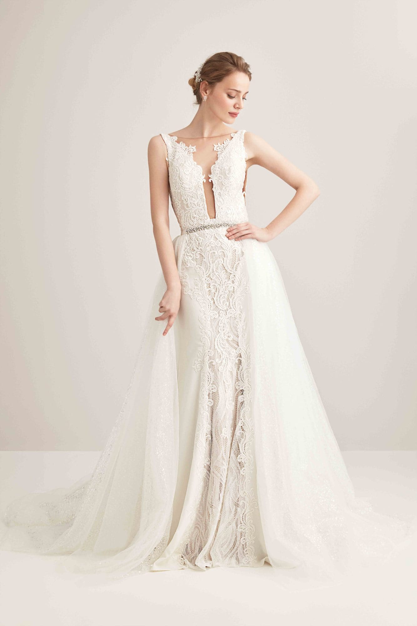 Detachable Lace Mermaid Wedding Dress